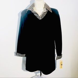 New.! Notations Black Sweater KNIT Faux Graphics M